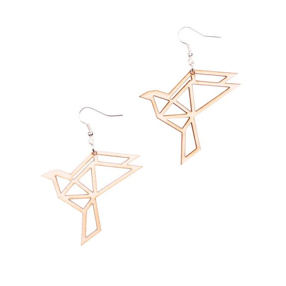 YO ZEN, ORIGAMI Dove earrings, korvakorut, kyyhky, birch, koivu, suomalainen design, finnish design
