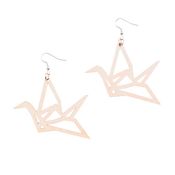 YO ZEN, ORIGAMI, Swan, earrings, korvakorut, joutsen, birch, koivu, puu, suomalainen design, finnish design