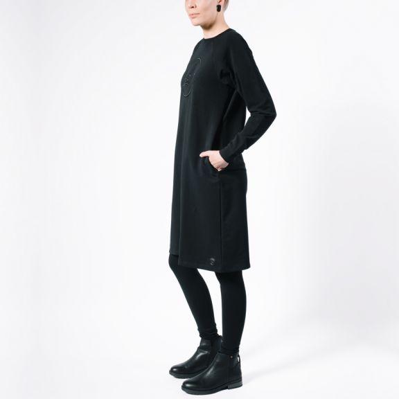 Sweatshirt dress, collegemekko, origami swan, minimalist style, japanese style, pocket dress