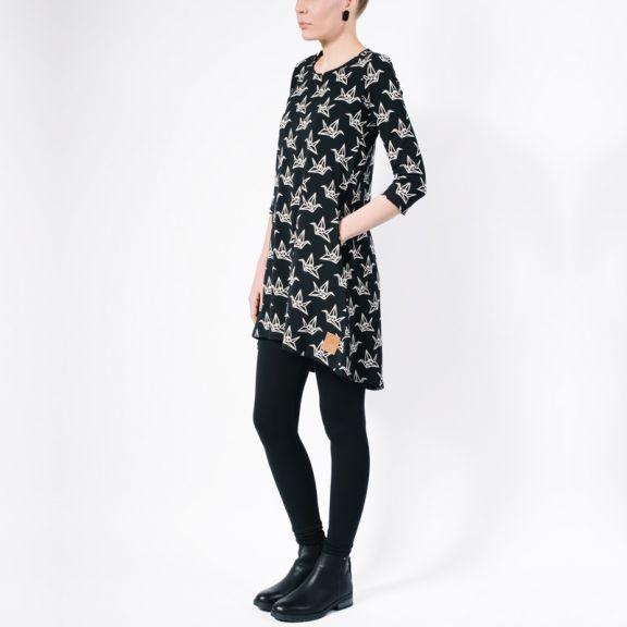 YO ZEN, women, Dress, mekko, origami, swan, Finnish design, organic cotton, ecological fashion