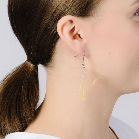 ORIGAMI Dove -korvakorut, kirkas/keltainen liukuväri