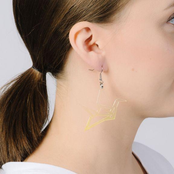 ORIGAMI Print Swan -minikorvakorut, kirkas/keltainen liukuväri