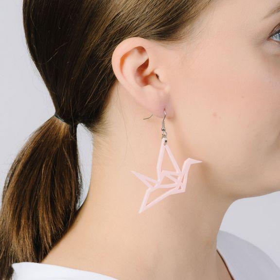 ORIGAMI Swan -minikorvakorut, vaaleanpunainen