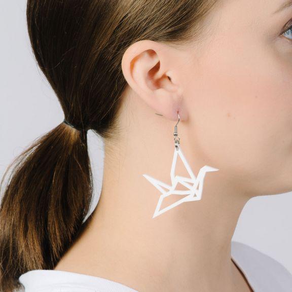 ORIGAMI Swan -minikorvakorut, valkoinen