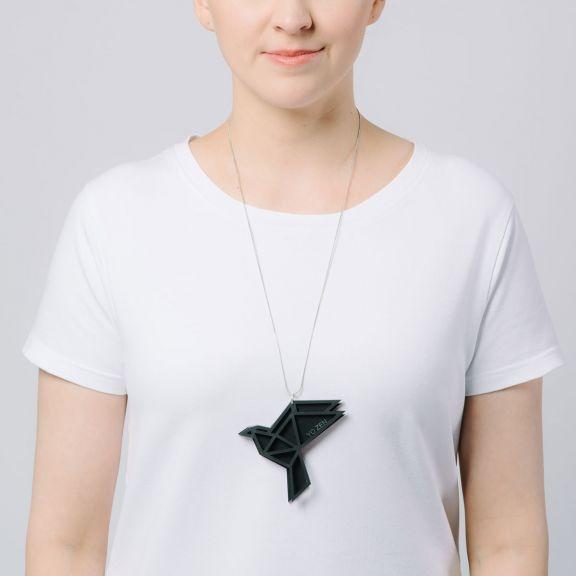 ORIGAMI Dove -iso kaksiosainen kaulakoru, musta
