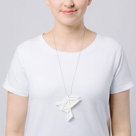 ORIGAMI Dove iso kaksiosainen kaulakoru, valkoinen