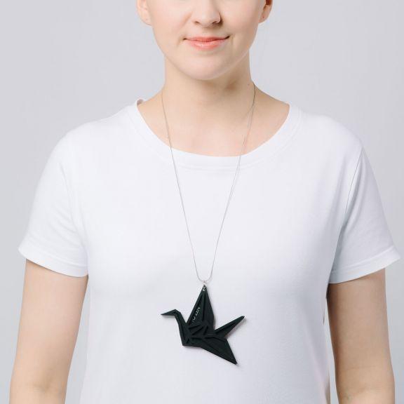 ORIGAMI Swan iso kaksiosainen kaulakoru, musta