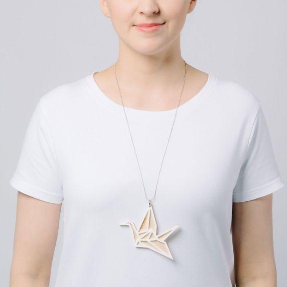 ORIGAMI Swan iso kaksiosainen kaulakoru, valkoinen/koivu