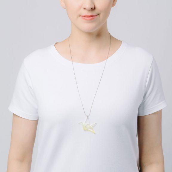 ORIGAMI Print Swan -minikaulakoru, kirkas/keltainen liukuväri