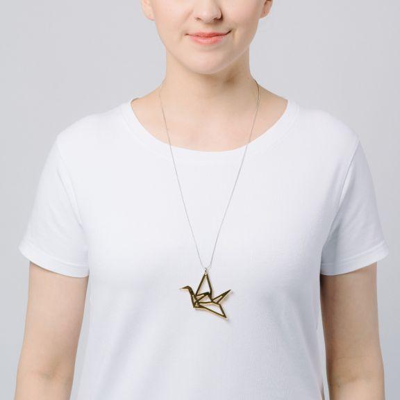 ORIGAMI Swan -kaulakoru, kultapeili