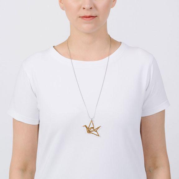 ORIGAMI Print Swan -minikaulakoru, meripihka millimetri