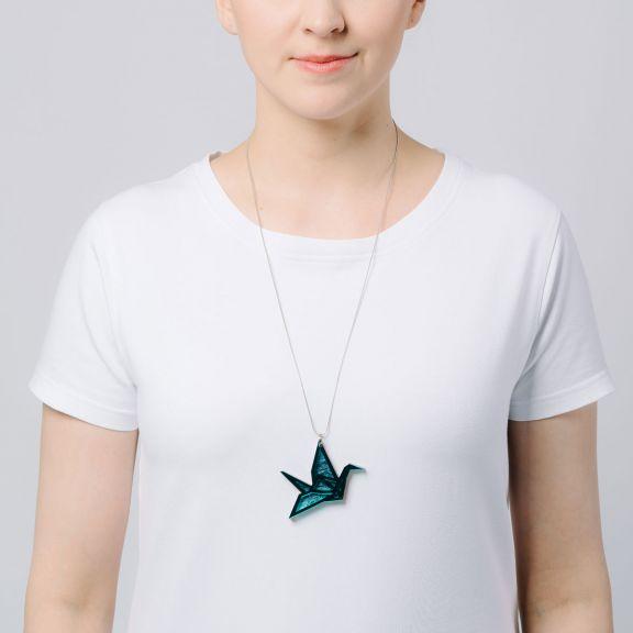ORIGAMI Print Swan -kaksiosainen kaulakoru, jadepeili/Aallokko
