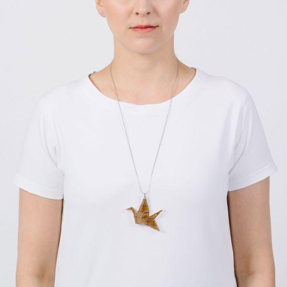 ORIGAMI Print Swan -kaksiosainen kaulakoru, meripihka/millimetri