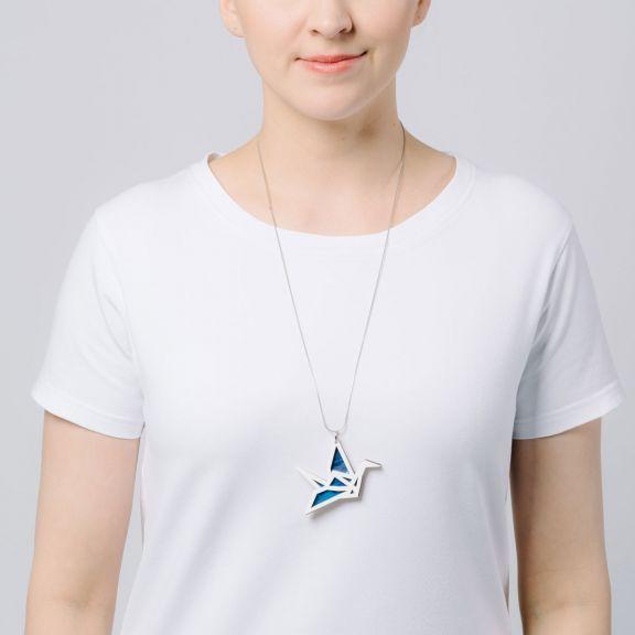 ORIGAMI Print Swan -kaksiosainen kaulakoru, valkoinen/Tähtitaivas